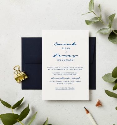 navy script wedding